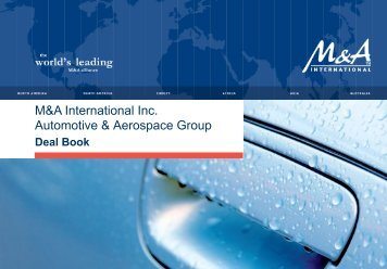 Automotive & Aerospace Deal Book - Audon Trap & Partners