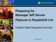 Preparing for Manager Self Service Features in PeopleSoft 9.0: