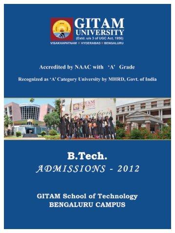 B Tech Booklet.pmd - GITAM University