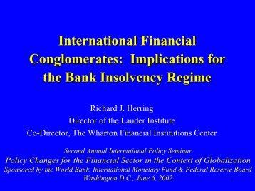 International Financial Conglomerates: Implications for ... - World Bank