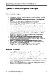 Syntaktisch-morphologische Störungen - Dr. Karin Reber