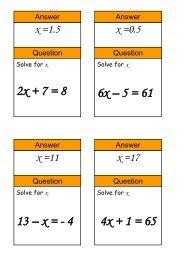 solving equations - Mr Barton Maths