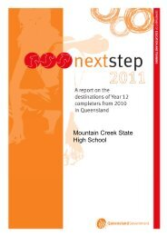 next-steps-report-2011 - Mountain Creek State High School