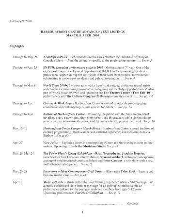 Harbourfront Centre Advance Events Listings March & April 2010