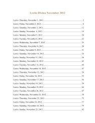 Lectio Divina November 2012 - the Carmelite Centre Melbourne