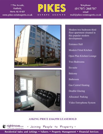 ASKING PRICE £164,950 LEASEHOLD - Pikes