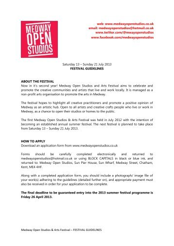 FESTIVAL GUIDELINES Saturday 13 – Sunday 21 July 2013 ...