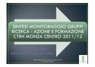 Presentazione della sintesi del monitoraggio sui gruppi di ricerca ...