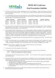 Oral Presentation Guideline - MEMS 2013