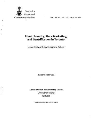 Ethnic Identity, Place Marketing, and Gentrification in ... - Cities Centre