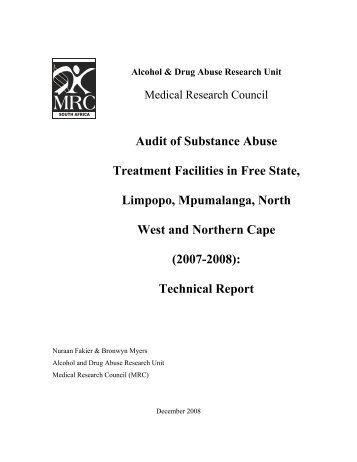 Audit of Substance Abuse Treatment Facilities in ... - SA HealthInfo