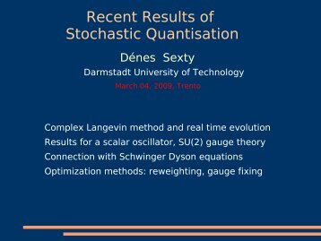 Recent Results of Stochastic Quantisation