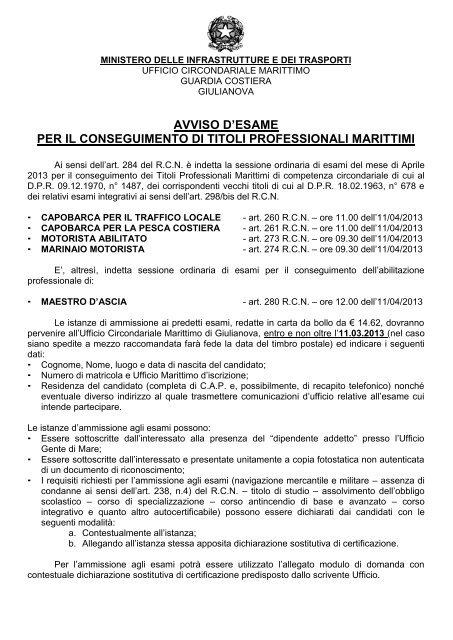 Calendario Esami Titoli Professionali Marittimi.Avviso D Esame Per Il Conseguimento Di Guardia Costiera