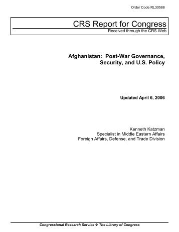 Afghanistan: Post-War Governance, Security, and U.S. Policy - PARDS