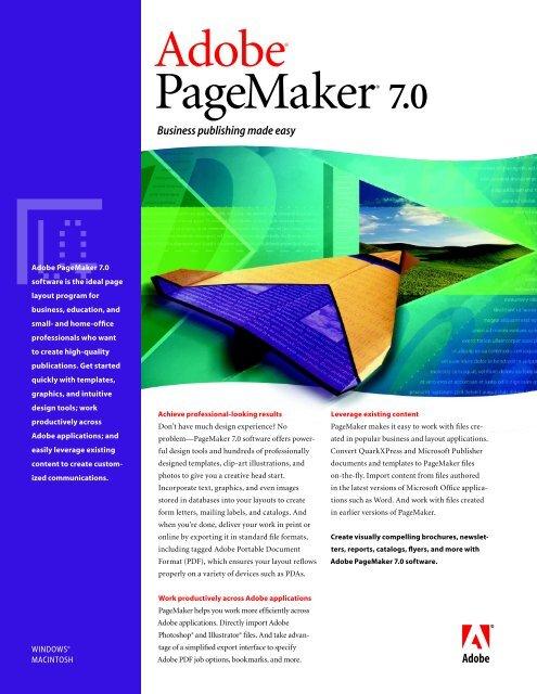 Adobe PageMaker 7 0 Brochure