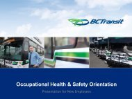 BC Transit Occupational Health & Safety Orientation Violence in the ...