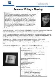 Resume Writing – Nursing - QUT Careers and Employment