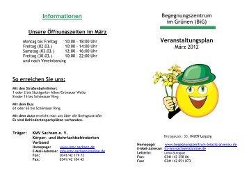 Begegnungszentrum im Grünen (BiG) Veranstaltungsplan