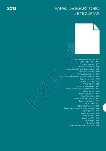 PAPEL DE ESCRITÓRIO e ETIQUETAS 2013 - Exitus