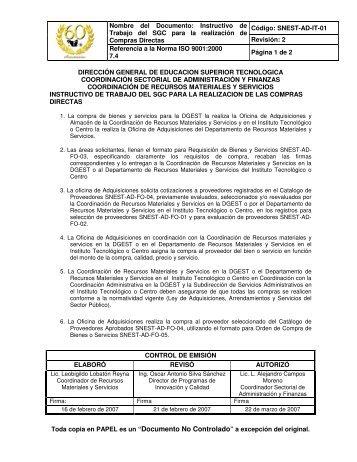 SNEST-AD-IT-01 COMPRAS DIRECTAS.pdf - Instituto Tecnológico ...