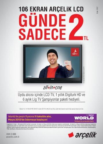 Uydu alıcısı içinde LCD TV, 1 yıllık Digiturk HD ve 6 aylık ... - Arçelik