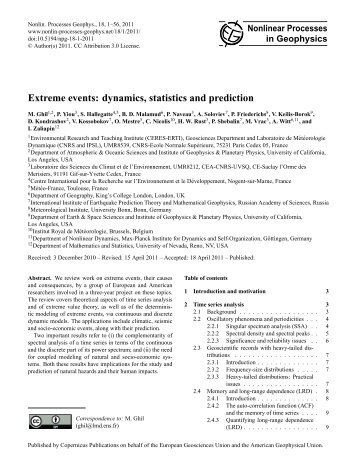 dynamics, statistics and prediction - ceres-erti - Ecole Normale ...