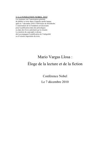Mario Vargas Llosa : Éloge de la lecture et de la ... - Nobelprize.org