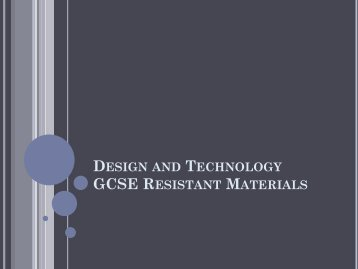 Design and Technology Resistant Materials