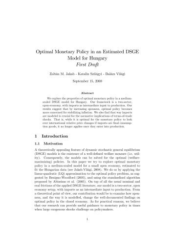 Optimal Monetary Policy in an Estimated DSGE Model for Hungary ...