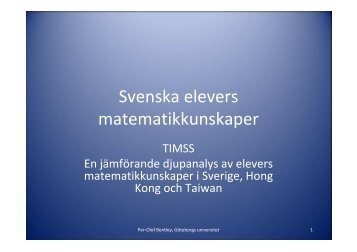 Svenska elevers matematikkunskaper - Pedagog Stockholm