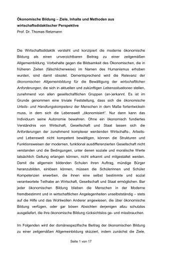 Ökonomische Bildung – Ziele, Inhalte und Methoden aus ...