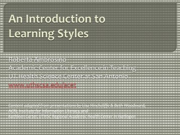 An Introduction to Learning Styles