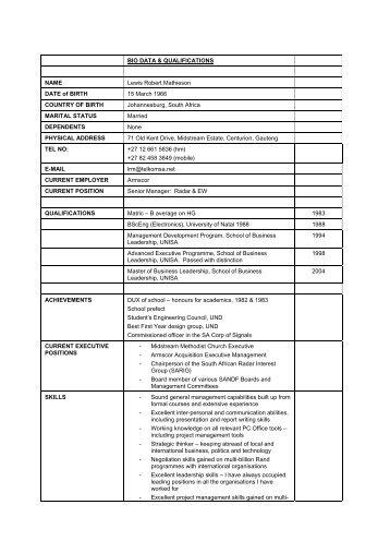 BIO DATA & QUALIFICATIONS NAME Lewis ... - Midrand Estates