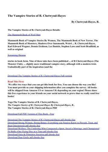 The woolly mammoth the ice age and the bible pdf ebooks by download the vampire stories of r chetwynd hayes pdf ebooks fandeluxe Image collections
