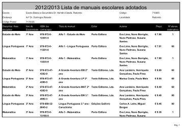 2012/2013 Lista de manuais escolares adotados