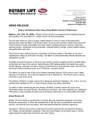 News Release - Rotary Lift