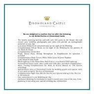 A la Carte Menu - Dromoland Castle Hotel