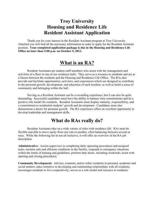 Troy University Housing and Residence Life Resident Assistant