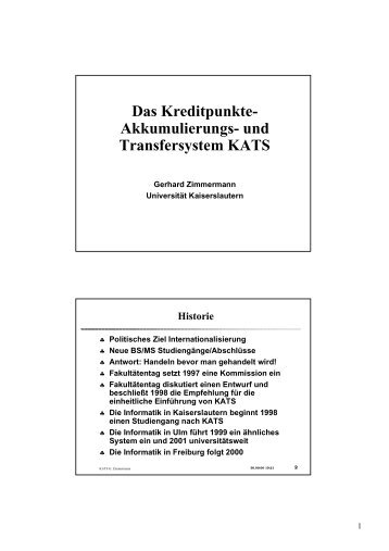 Das Kreditpunkte - Fakultätentag Informatik