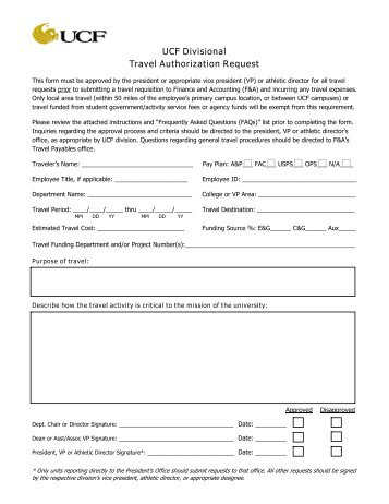 Request for Travel Reservations Form - NCI at Frederick