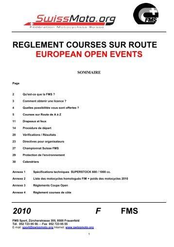reglement courses sur route european open events 2010 f fms