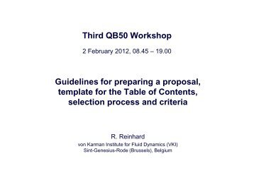 Guidelines for preparing a proposal, template for the Table of ... - QB50