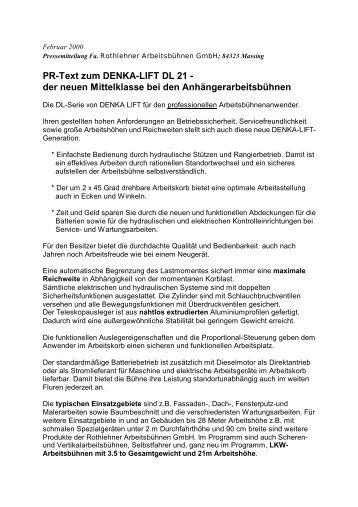 PR-Text zum DENKA-LIFT DL 21 - Rothlehner Arbeitsbühnen