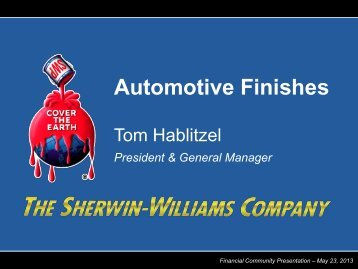 Automotive Finishes - Investor Relations - Sherwin-Williams