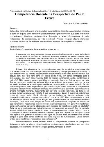 Competência Docente na Perspectiva de Paulo Freire - Sinpro/RS