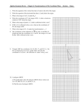 Chapter 6: Transformations & The Coordinate Plane