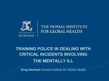 Mr Greg Denham - The Nossal Institute for Global Health