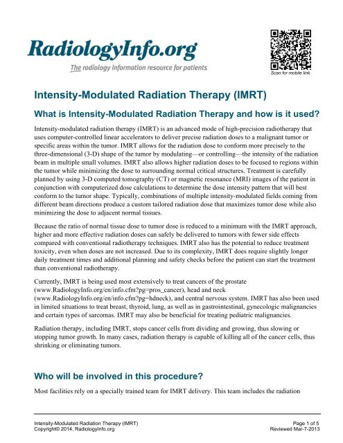 Intensity-Modulated Radiation Therapy (IMRT) - RadiologyInfo