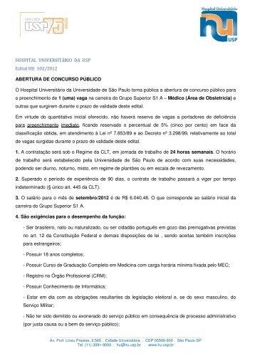 HOSPITAL UNIVERSITÁRIO DA USP Edital HU 102/2012 ...