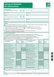 Antrag auf Einbehalt der Kirchensteuer - PSD Bank Hannover eG